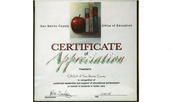 SBCOE Certificate of Appreciation